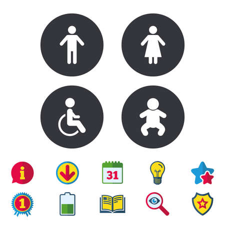 WC toilet icons. Human male or female signs. Baby infant or toddler. Disabled handicapped invalid symbol. Calendar, Information and Download signs. Stars, Award and Book icons. Vector Illustration
