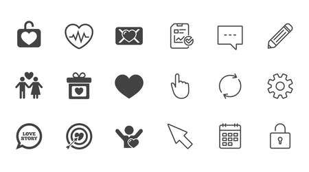 Love, valentine day icons. Target with heart, oath letter and locker symbols. Couple lovers, heartbeat signs. Chat, Report and Calendar line signs. Service, Pencil and Locker icons. Vector