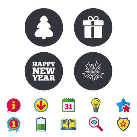 Happy new year icon. Christmas tree and gift box signs. Fireworks explosive symbol. Calendar, Information and Download signs. Stars, Award and Book icons. Light bulb, Shield and Search. Vector
