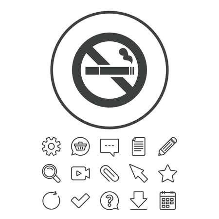 Niet roken teken pictogram. Sigaret symbool. Document-, chat- en paperclip-lijnborden. Vraag, potlood en kalenderlijnpictogrammen. Ster, download en winkelwagen. Vector Stock Illustratie