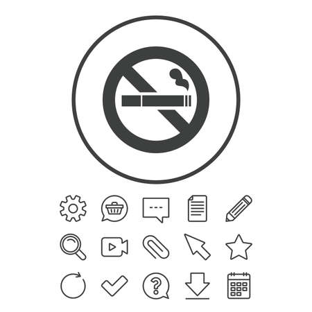 No Smoking sign icon. Cigarette symbol. Document, Chat and Paper clip line signs. Question, Pencil and Calendar line icons. Star, Download and Shopping cart. Vector