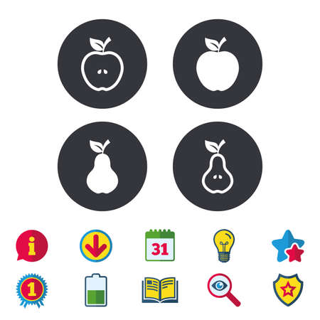 Fruits with leaf icons. Apple and Pear with seeds signs. Natural food symbol. Calendar, Information and Download signs. Stars, Award and Book icons. Light bulb, Shield and Search. Vector Illustration