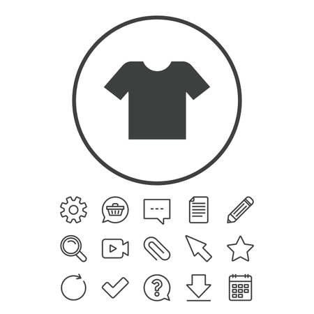T-shirt sign icon. Clothes symbol. Document, Chat and Paper clip line signs. Question, Pencil and Calendar line icons. Star, Download and Shopping cart. Vector