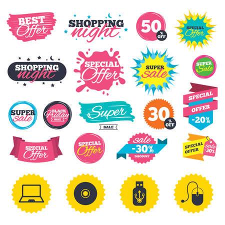 판매 쇼핑 배너입니다. 노트북 PC 및 Usb 플래시 드라이브 스틱 아이콘. 컴퓨터 마우스 및 CD 또는 DVD 기호를 기호. 웹 배지, 스플래시 및 스티커. 최고의