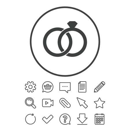 結婚指輪は記号アイコンです。婚約のシンボル。ドキュメント、チャットやペーパー クリップ ラインの標識。質問、鉛筆、カレンダー アイコンを