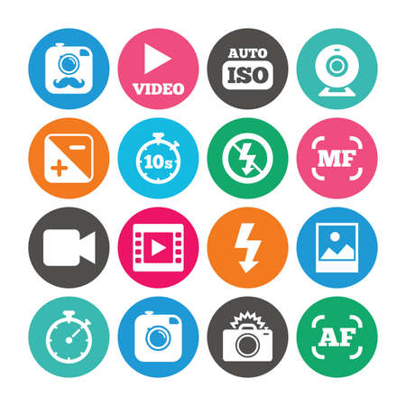 Set of Photo and Video icons. Camera, timer and frame signs. No flash and Auto focus symbols. Colored circle buttons with flat signs. Vector