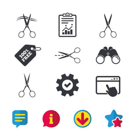 snip: Scissors icons. Hairdresser or barbershop symbol. Scissors cut hair. Cut dash dotted line. Tailor symbol. Browser window, Report and Service signs. Binoculars, Information and Download icons. Vector