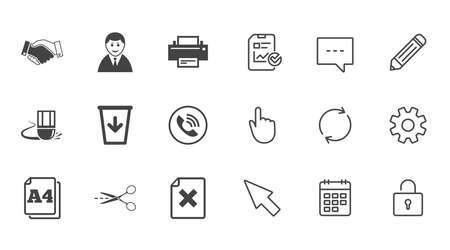 Office, documents and business icons. Printer, handshake and phone signs. Boss, recycle bin and eraser symbols. Chat, Report and Calendar line signs. Service, Pencil and Locker icons. Vector