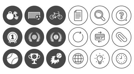 Sport games, fitness icons. Football, basketball and tennis signs. Golf, bike and winner medal symbols. Document, Globe and Clock line signs. Lamp, Magnifier and Paper clip icons. Vector