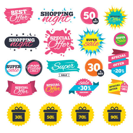 Sale shopping banners. Sale gift box tag icons. Discount special offer symbols. 30%, 50%, 70% and 90% percent discount signs. Web badges, splash and stickers. Best offer. Vector