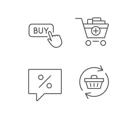 Icone di linea del carrello, sconto e acquisto. Aggiorna il segno del carrello. Elementi di design di qualità. Tratto modificabile Vettore Archivio Fotografico - 84954294
