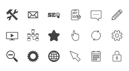 Internet, seo icons. Repair, database and star signs. Mail, settings and monitoring symbols. Chat, Report and Calendar line signs. Service, Pencil and Locker icons. Click, Rotation and Cursor. Vector