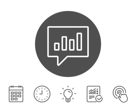 Chart line icon. Report graph or Sales growth sign in speech bubble. Analysis and Statistics data symbol. Report, Clock and Calendar line signs. Light bulb and Click icons. Editable stroke. Vector Çizim