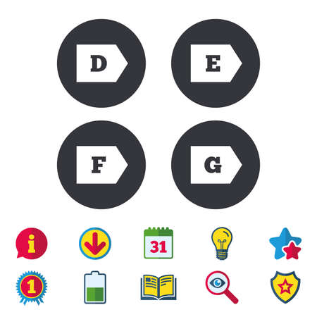 Energy efficiency class icons. Energy consumption sign symbols. Class D, E, F and G. Calendar, Information and Download signs. Stars, Award and Book icons. Light bulb, Shield and Search. Vector Illusztráció