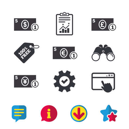 Businessman case icons. Dollar, yen, euro and pound currency sign symbols. Browser window, Report and Service signs. Binoculars, Information and Download icons. Stars and Chat. Vector