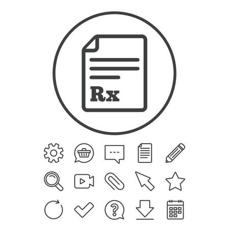 retail therapy: Medical prescription Rx sign icon. Pharmacy or medicine symbol. Document, Chat and Paper clip line signs. Question, Pencil and Calendar line icons. Star, Download and Shopping cart. Vector