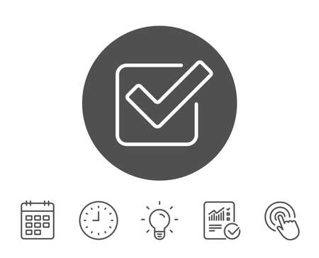 Check line icon. Approved Tick sign. Confirm, Done or Accept symbol. Report, Clock and Calendar line signs. Light bulb and Click icons. Editable stroke. Vector Stok Fotoğraf - 85071554