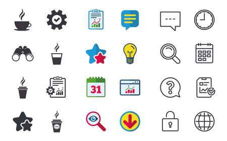 Coffee cup icon. chat, report and calendar signs.