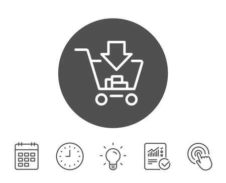 Add to Shopping cart line icon. Online buying sign. Supermarket basket symbol. Report, Clock and Calendar line signs. Light bulb and Click icons. Editable stroke. Vector