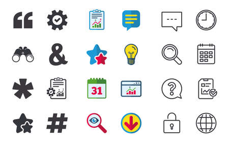 Quote, asterisk footnote icons. Hashtag social media and ampersand symbols. Programming logical operator AND sign. Chat, Report and Calendar signs. Stars, Statistics and Download icons. Vector Illustration