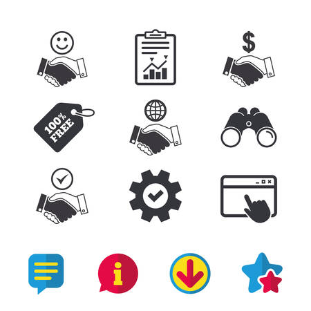 Handshake icons. World, Smile happy face and house building symbol. Dollar cash money. Amicable agreement. Browser window, Report and Service signs. Binoculars, Information and Download icons. Vector
