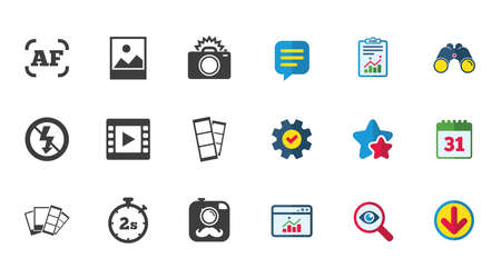 Video icons. Camera signs.Calendar, Report and Download signs.Stars, Service and Search icons.
