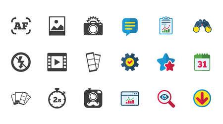 Video pictogrammen. Cameratekens. Kalender, rapport en downloadborden. Sterren, dienst en zoekpictogrammen.