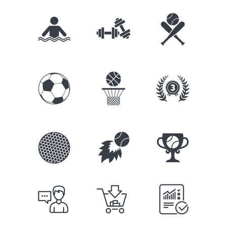 Sport games, fitness icons. Football, basketball and baseball signs. Swimming, fireball and winner cup symbols. Customer service, Shopping cart and Report line signs. Online shopping and Statistics