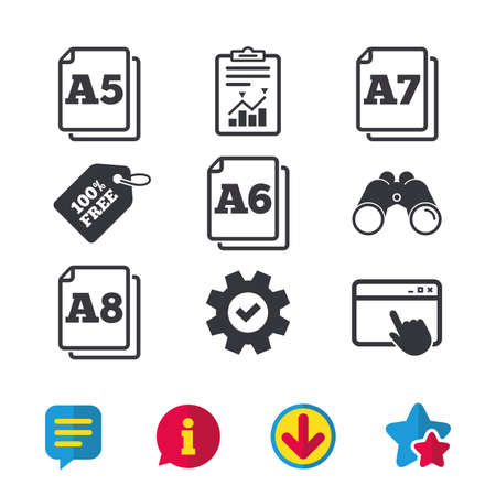 Paper size standard icons. Document symbols. A5, A6, A7 and A8 page signs. Browser window, Report and Service signs. Binoculars, Information and Download icons. Stars and Chat. Vector Ilustração