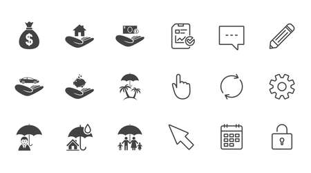 Insurance icons. Life, Real estate and House signs. Money bag, family and travel symbols. Chat, Report and Calendar line signs. Service, Pencil and Locker icons. Click, Rotation and Cursor. Vector Illustration