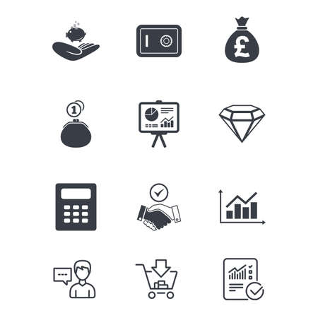 Money, cash and finance icons. Handshake, safe and calculator signs. Chart, safe and jewelry symbols. Customer service, Shopping cart and Report line signs. Online shopping and Statistics. Vector