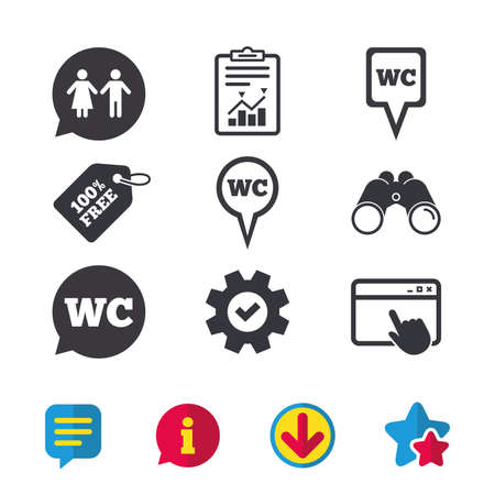 Wc Toilet Pointer Icons Gents And Ladies Room Signs Man And