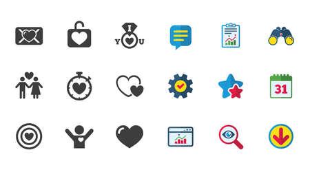 Liebe, Valentinstag-Symbole. Zielen Sie mit Herz, Eidbrief und Schließfachsymbolen. Paar Liebhaber, Freund Zeichen. Zeichen für Kalender, Bericht und Download. Symbole für Sterne, Service und Suche. Vektor Standard-Bild - 85001600