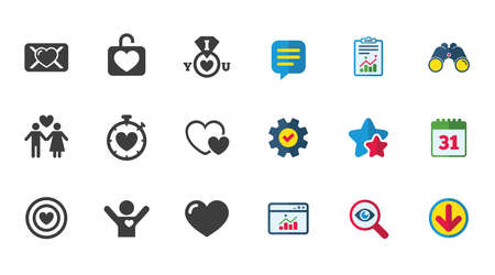 Love, valentine day icons. Target with heart, oath letter and locker symbols. Couple lovers, boyfriend signs. Calendar, Report and Download signs. Stars, Service and Search icons. Vector Illusztráció