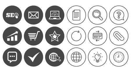 Internet, seo icons. Tick, online shopping and chart signs. Bandwidth, mobile device and chat symbols. Ilustração