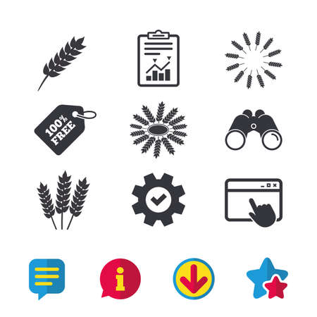Agricultural icons. Gluten free or No gluten signs. Wreath of Wheat corn symbol.