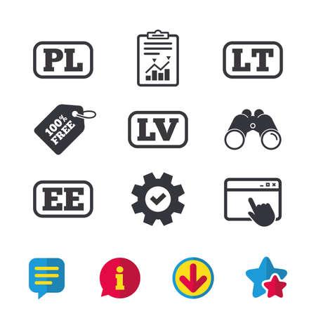 언어 아이콘. PL, LV, LT 및 EE 번역 기호. 폴란드, 라트비아, 리투아니아 및 에스토니아 언어.