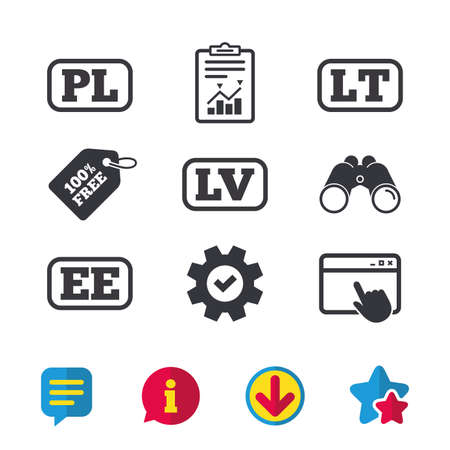 Language icons. PL, LV, LT and EE translation symbols. Poland, Latvia, Lithuania and Estonia languages.