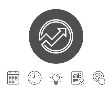 Chart line icon. Report graph or Sales growth sign in circle. Analysis and Statistics data symbol. Report, Clock and Calendar line signs. Light bulb and Click icons. Editable stroke. Vector Çizim