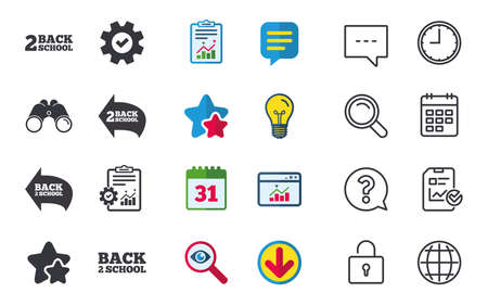 Back to school icons. Studies after the holidays signs symbols. Chat, Report and Calendar signs. Stars, Statistics and Download icons. Question, Clock and Globe. Vector