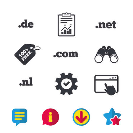web browser: Top-level internet domain icons. De, Com, Net and Nl symbols. Unique national DNS names. Browser window, Report and Service signs. Binoculars, Information and Download icons. Stars and Chat. Vector