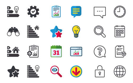 Energy efficiency icons. Lamp bulb and house building sign symbols. Chat, Report and Calendar signs. Stars, Statistics and Download icons. Question, Clock and Globe. Vector 向量圖像