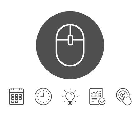 ?omputer Mouse icon. Internet surf device sign. PC equipment symbol. Report, Clock and Calendar line signs. Light bulb and Click icons. Editable stroke. Vector