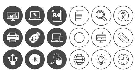 Computer devices icons. Printer, laptop signs. Smartphone, monitor and usb symbols. Document, Globe and Clock line signs. Lamp, Magnifier and Paper clip icons. Question, Credit card and Refresh