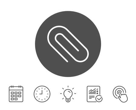Attach line icon. Attachment paper clip sign. Office stationery object symbol. Report, Clock and Calendar line signs. Light bulb and Click icons. Editable stroke. Vector Çizim