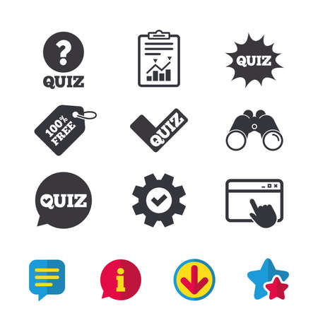 Quiz icons. Speech bubble with check mark symbol. Explosion boom sign. Browser window, Report and Service signs. Binoculars, Information and Download icons. Stars and Chat. Vector