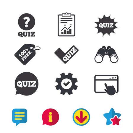 Quiz pictogrammen. Tekstballon met symbool van het vinkje. Explosieboomteken. Browservenster, rapport en serviceborden. Verrekijker, informatie en download pictogrammen. Sterren en chatten. Vector Stock Illustratie