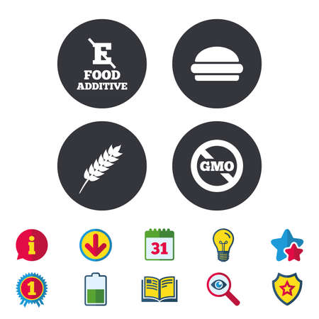 Food additive icon. Hamburger fast food sign. Gluten free and No GMO symbols. Without E acid stabilizers. Calendar, Information and Download signs. Stars, Award and Book icons. Vector