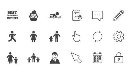 People, family icons. Swimming pool, person signs. Best mom, father and mother symbols. Chat, Report and Calendar line signs. Service, Pencil and Locker icons. Click, Rotation and Cursor. Vector Illustration