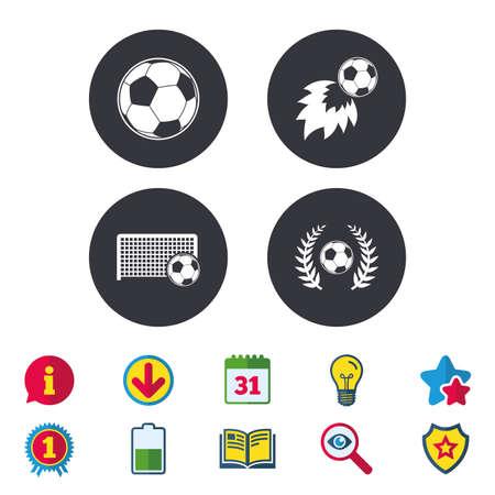 Voetbal pictogrammen. Voetbal sport teken. Keeper poort symbool. Winnaar award lauwerkrans. Doelpuntenmaker vuurbal. Kalender, informatie en downloadborden. Pictogrammen voor sterren, awards en boeken. Vector Stock Illustratie
